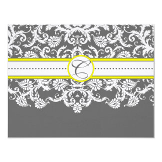 Bright Yellow Charcoal  Gray Damask Reception Card