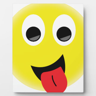 BRIGHT YELLOW CHEEKY HAPPY FACE SMILIES EMOTIONS F PLAQUE