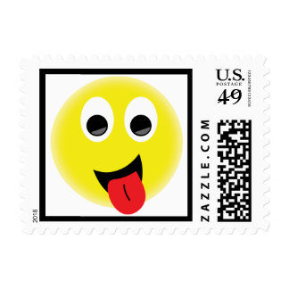 BRIGHT YELLOW CHEEKY HAPPY FACE SMILIES EMOTIONS F STAMP