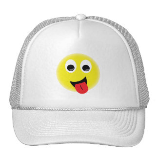 BRIGHT YELLOW CHEEKY HAPPY FACE SMILIES EMOTIONS F TRUCKER HAT