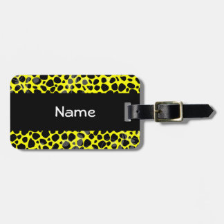 Bright Yellow Cheetah Skin Pattern Tags For Luggage