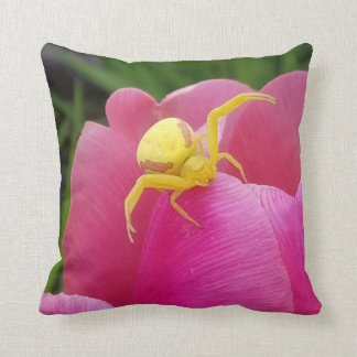 Bright Yellow Crab Spider on Pink Tulip Two Sided Throw Pillow
