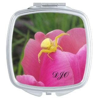 Bright Yellow Crab Spider  Pink Tulip initials Vanity Mirror