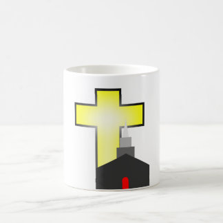 bright yellow cross and silhouette church cup