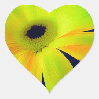 Bright Yellow Daisy Gifts Heart Sticker
