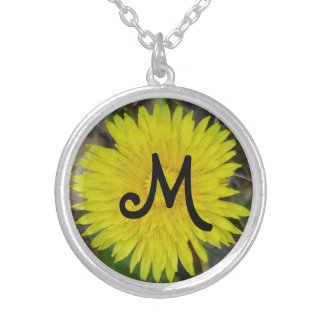 Bright yellow dandelion flower custom initial round pendant necklace