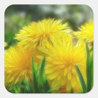 Bright Yellow Dandelions Square Sticker
