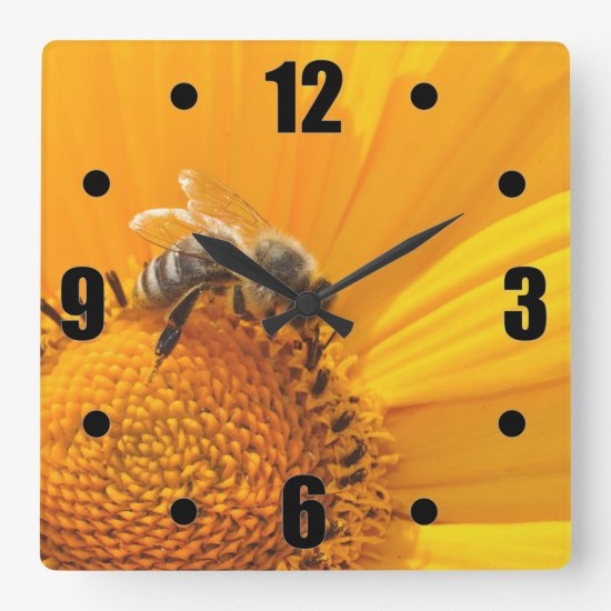 Bright Yellow Flower And Honey Bee Square Wall Clock