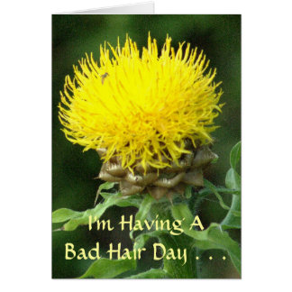 BRIGHT YELLOW FLOWER / BAD HAIR DAY CARD