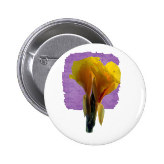 Bright Yellow Flower Cutout Picture Photo Pinback Button