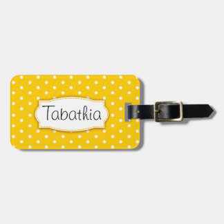Bright yellow flower polka dots named luggage tag