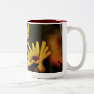 Bright Yellow flowers Two-Tone Coffee Mug
