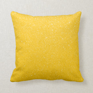 Bright Yellow Glittery Print Throw Pillow