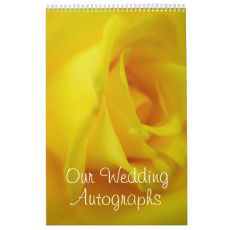 Bright Yellow Glowing Rose Wedding Wall Calendar