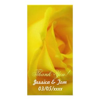 Bright Yellow Glowing Rose Wedding Card