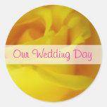 Bright Yellow Glowing Rose Wedding Round Sticker