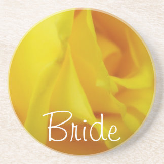 Bright Yellow Glowing Rose Wedding Sandstone Coaster