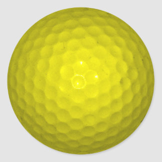 Bright Yellow Golf Ball Classic Round Sticker