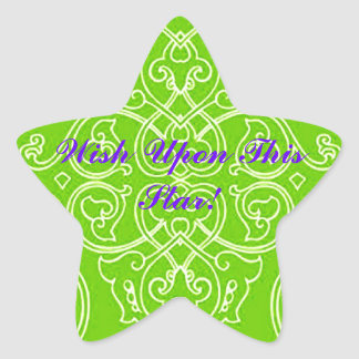 BRIGHT YELLOW GREENSTICKER/WISH UPON THIS STAR! STAR STICKER