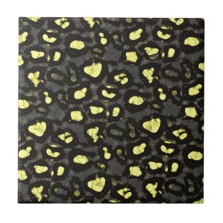 Bright Yellow Grey Cheetah Ceramic Tile