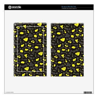 Bright Yellow Grey Cheetah Kindle Fire Skin