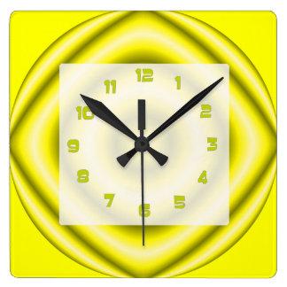 Bright yellow grey Groovy Abstract Clocks