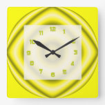 Bright yellow grey Groovy Abstract Clocks