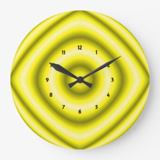 Bright yellow grey Groovy Abstract Large Clock