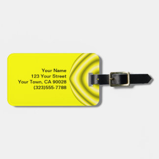 Bright yellow grey Groovy Abstract Luggage Tag