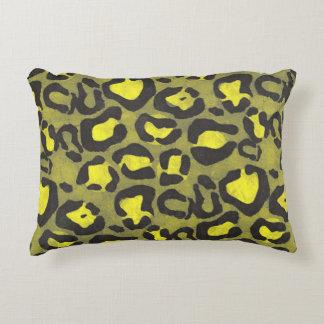 Bright Yellow Grunge Cheetah Decorative Pillow
