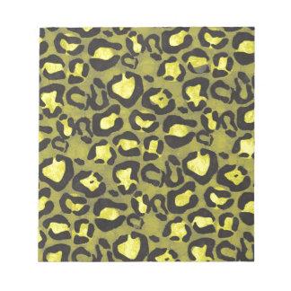 Bright Yellow Grunge Cheetah Notepad