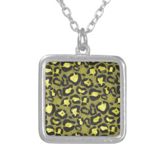 Bright Yellow Grunge Cheetah Square Pendant Necklace