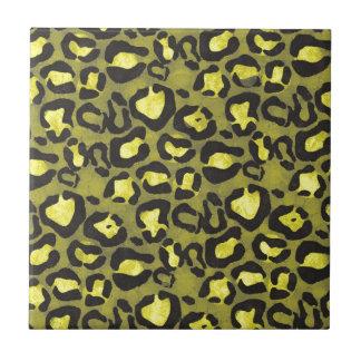 Bright Yellow Grunge Cheetah Tile