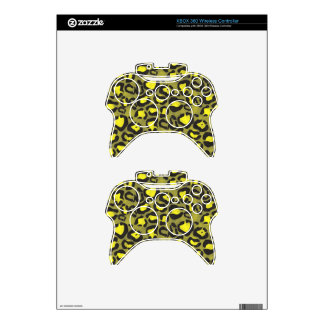 Bright Yellow Grunge Cheetah Xbox 360 Controller Decal