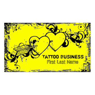 Bright yellow grunge heart tattoo business cards