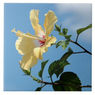 Bright yellow hibiscus flower Tile