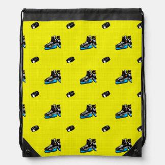 Bright Yellow Hockey Pattern Drawstring Bag