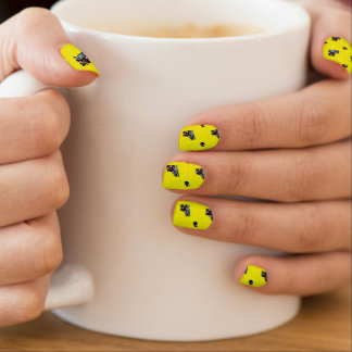 Bright Yellow Hockey Pattern Minx Nail Wraps