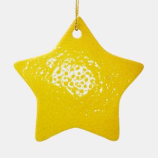 Bright Yellow Lemon Ceramic Ornament