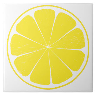 Bright Yellow Lemon Citrus Fruit Slice Design Ceramic Tile