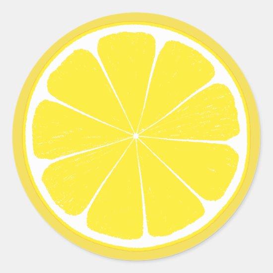 Bright Yellow Lemon Citrus Fruit Slice Design Classic Round Sticker