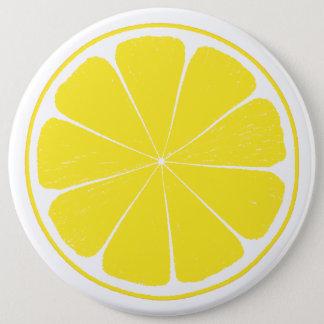 Bright Yellow Lemon Citrus Fruit Slice Design Pinback Button
