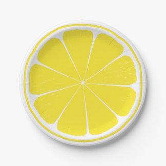 Bright Yellow Lemon Citrus Fruit Slice Paper Plate
