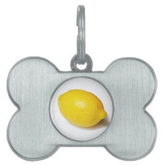 Bright Yellow Lemon Pet ID Tags