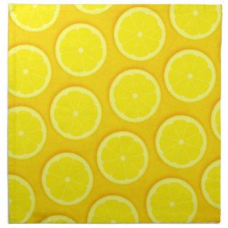 Bright yellow lemon slices napkin