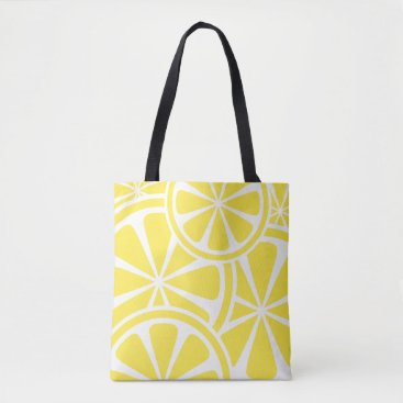 Beach Themed Bright Yellow Lemon Slices Summer Tote Bag