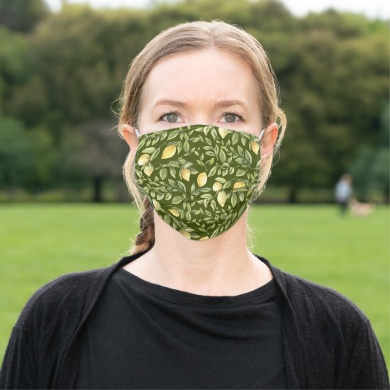 Bright Yellow Lemons and Leaves on Green Cloth Face Mask