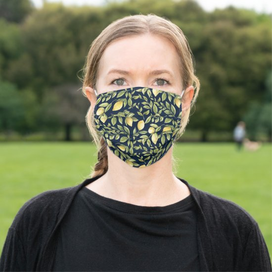 Bright Yellow Lemons and Leaves on Navy Background Cloth Face Mask