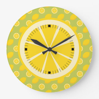 Bright Yellow Lemons and Slices Wall Clock