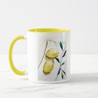 bright yellow lemons with herbs for cooking mug